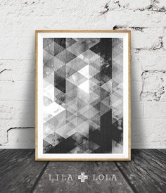 Black and White Wall Art, Geometric Scandinavian Print, Abstract Printable Poster, Black White Geometric, Scandinavian Decor, Modern Scandi