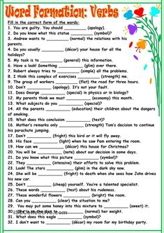 Word Formation:Verbs worksheet - Free ESL printable worksheets made by teachers English Grammar Exercises, English Grammar Rules, Teaching English Grammar, English Grammar Worksheets, Grammar And Punctuation, French Language Learning, English Writing, English Words, English Vocabulary