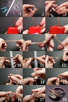 Wire Jewelry Rings, Wire Jewelry Making, Wire Jewelry Designs, Handmade Wire Jewelry, Jewelry Making Tutorials, Wire Bracelets, Beaded Rings, Wire Earrings, Jewlery