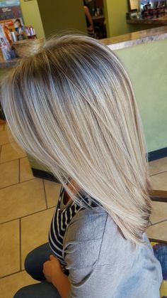 Dimensional blonde hair, chocolate low lights, icy blonde highlights, aloxxi