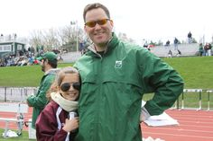 Football coach Brian Bowers, on the sidelines at a April 20, 2013 lacrosse game, shows who he gets his style from -- his daughter Lexi!