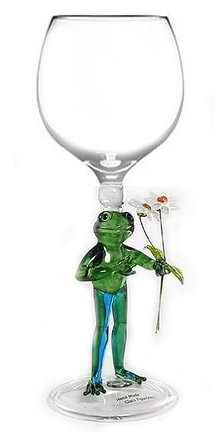 Hand Blown Frog with Flowers Wine Glass by Yurana Designs - W206 Yurana Designs