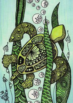 Zentangle Art | Sea Turtle - Zentangle Style Art Prints by Cindy Vasquez - Shop Canvas ...