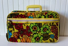 Vintage 60's Yellow Flower Power Suitcase/ by PsychedelicGarden