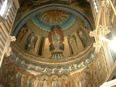 Pre-Raphaelite angels on dome of St. Paul's Within the Walls, Rome, by Edward Burne-Jones. http://www.victorianweb.org/painting/bj/mosaic/3.jpg