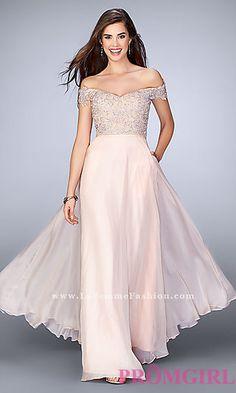 Off-the-Shoulder Lace Bodice La Femme Dress