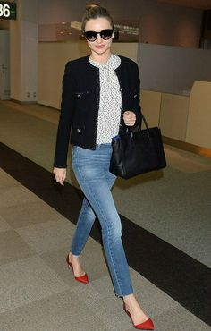 Miranda Kerr Narita Airport in Tokyo April 6 2014 wearing MIH NOUVELLE high waisted jeans, ( which i own also), spotted top and Chanel jacket with red pumps. Office Outfits, Mode Outfits, Jean Outfits, Fall Outfits, Casual Outfits, Fashion Outfits, Office Attire, Travel Outfits, Travel Fashion