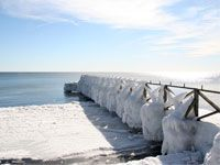 Icewinter at Smygehuk Love Bridge, Bridges, Beach, Water, Outdoor, Trelleborg, Gripe Water, Outdoors, The Beach