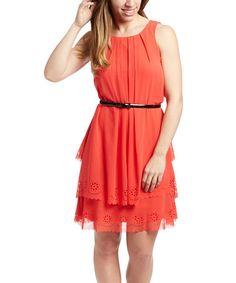 Another great find on #zulily! Poppy Red Chiffon Sleeveless Dress #zulilyfinds