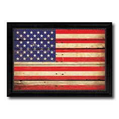 USA Vintage American Flag Canvas Print with Black Picture Frame Home Decor Man Cave Wall Art Collectible Decoration Artwork Gifts