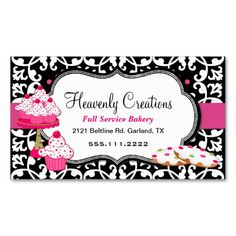 Sweet Treats and Damask #Bakery #BusinessCard