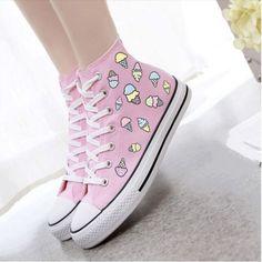 Kawaii Converse sneaker ♔ Uℓviỿỿa S Cute Converse, Converse Shoes, Pastel Converse, Pastel Shoes, Adidas Shoes, Converse Girls, Sneakers Shoes, Women's Shoes, Girls Shoes