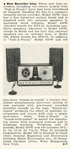 1963 ad for the General magnetics reel to reel tape recorder in   Phantom Productions' vintage recording collection
