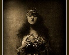 Crystal Ball, Fortune Teller Fridge Magnet vintage image, dark and creepy, sepia…