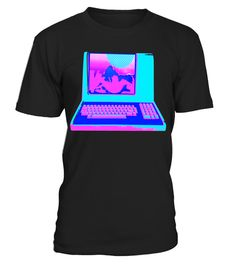 a04960ee30b Vaporwave Aesthetic Palm Tree Sunset Vintage Computer Tee . Special Offer,  not available in