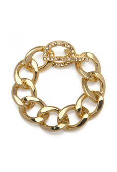 Kenneth Jay Lane Gold-Plated Chain LInk Bracelet.