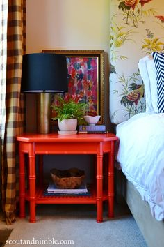 Eclectic bedside table styling by Scout and Nimble using Amy Howard's lacquer spray paint, Kumquat. Love the finish and the color! Home Bedroom, Bedroom Furniture, Diy Furniture, Bedroom Decor, Furniture Makers, Furniture Outlet, Furniture Stores, Bedroom Ideas, Lacquer Furniture