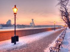 This one was taken on a wonderful, yet bitterly cold mid-December evening on the bank of Danube in Bratislava, Slovakia Beautiful Places In The World, Life Is Beautiful, Places To Travel, Places To Go, Bratislava Slovakia, Heart Of Europe, Dark Places, Central Europe, Winter Scenes