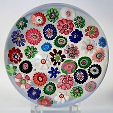 Gorgeous CLICHY Millefiori 37 CANES w/ Double CLICHY ROSES Art Glass PAPERWEIGHT