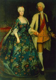 Princess Sophie Dorothea Marie with her husband, Frederick William, Margrave of Brandenburg Schwedt, 1734, Antoine Pesne. WikiPaintings.org