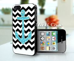 Aqua Glitter Anchor Black Chevron -  iPhone 4 Case, iPhone 5 Case. FREE SHIPPING - Worldwide. on Etsy, $15.99