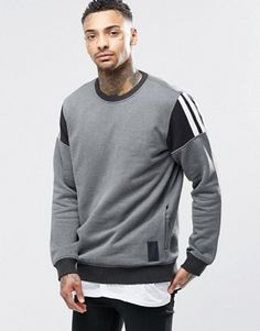 Image 1 of adidas Originals Elevate Crew Sweatshirt Adidas Originals, Crew Sweatshirts, Crew Neck Sweatshirt, Henley Shirts, Well Dressed Men, Sport Man, Shirt Style, Shirt Designs, Men Sweater