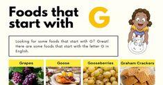 Foods That Start With G Roux Gravy, Graham Flour, Gazpacho Soup, Guava Fruit, Steamed Dumplings, Visual Dictionary, Tzatziki Sauce, Letter G, Food Lists