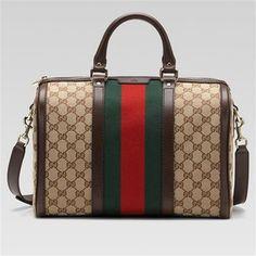 96f8333d502 Save on the Lands End Gucci Vintage Web Gg Canvas Boston 247205 Beige Bag -  Satchel! This satchel is a top ...
