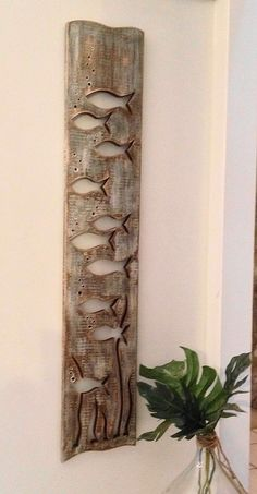 Fish Art Sign Panel Horizontal Sea Glass or di CastawaysHall