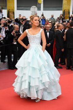 Blake Lively Celebrity Dresses 2016 Ice Blue The Cannes Film Ruffled Scooped Ball Gown Long Red Carpet Formal Evening Wear Strapless Dress Formal, Formal Dresses, Wedding Dresses, Dresses 2016, Formal Wear, Blake Lively Cannes, Celebs, Celebrities, Cannes Film Festival