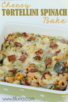This Cheesy Tortellini Spinach Bake is a great side dish for any meal! Recipe on { lilluna.com }
