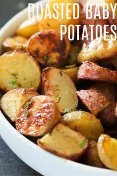 These Roasted Baby Potatoes are so easy to make, and come together in minutes. If you need a quick appetizer, or side dish, this recipe is for you. These are the BEST Roasted Baby Potatoes I have ever tasted. Keto Side Dishes, Side Dishes Easy, Side Dish Recipes, Main Dishes, Vegetable Dishes, Vegetable Recipes, Veggie Food, Baby Potato Recipes, Roasted Baby Potatoes