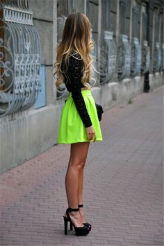 Womens Fluorescent Green Pleated High Waist Skater Tutu Skirt Short Mini Dress