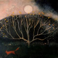 """Catherine Hyde - Winter Solstice cards: """"Moving Through the Dark Orchard"""" Illustrations, Illustration Art, Moon Art, Tree Art, Large Prints, Hyde, Giclee Print, Original Paintings, Drawings"""