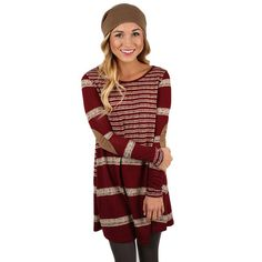 Striped Ambition Tunic In Wine | Impressions Online Women's Clothing Boutique