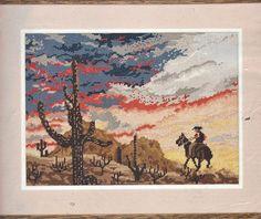 Vintage Arizona Sunset JCA Needlepoint Kit 06609 NIP Cowboy