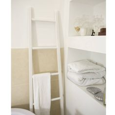 ive just found white wooden towel ladder a simple white painted towel rail