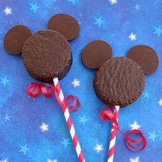 Use candy melts to create Mickey Mouse out of a chocolate snack cake.