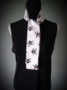 thin skull and crossbones wrap Halloween tie black and white gothic scarf