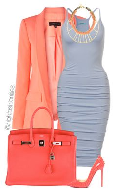 """Coral x Powder Blue"" by highfashionfiles ❤ liked on Polyvore"