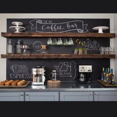 coffee bar/ floating shelves