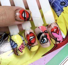 Ongles Pop Art, Pop Art Nails, Mani Pedi, Manicure, Vogue Makeup, Super Cute Nails, Pop Art Girl, Sexy Nails, Funky Nails