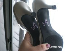 """This is cute. DIY rhinestone monogram wedding shoes I also love the ones that say """"I Do"""""""