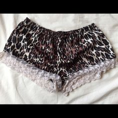 cheetah shorts. silk cheetah & lace shorts. forever 21.  ✧NO trades! ✧NO PayPal! ✧NO lowball offers! ✧I do NOT sell on any other apps! ✧Item is great for bundles! ✧Ships same or next day. ❤️ Forever 21 Shorts