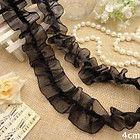 1yd black organza wrinkle lace fabric sewing trim wedding doll dress L811 - #Black, #dress, doll, fabric, L811, Lace, Organza, Sewing, trim, Wedding, wrinkle