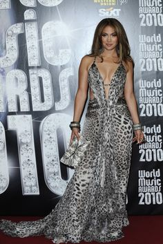 Jennifer Lopez at the World Music Awards, 2010. via @WWD jennifer lopez, anim print, dresses, leopards, roberto cavalli, music award, leopard prints, jennif lopez, spot