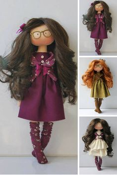 Muñecas Textile doll Tilda doll Fabric doll Purple doll