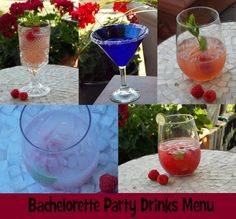 """Drink menu idea for a bachelorette party, including recipes. Fun """"Pink"""" cocktails!"""
