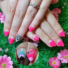 Hot pink heart tips with diamond, shark and flamingo nail art! www.kawaiiklaws.com