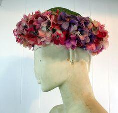 Vintage 1950s Designer Schiaparelli Flower hat - Derby Easter Bonnett - silk flowers - raffia crown - green pink